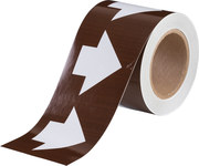 Brady B-946 White on Brown Directional Flow Arrow Tape - 4 in Width - 30 yd Length - 109930