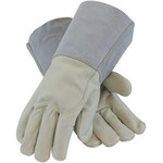PIP 75-2026 Gray/Tan Large Grain Cowhide Leather Welding Glove - Wing Thumb - 13 in Length - 75-2026/L