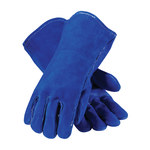 PIP Blue Bison 73-7007 Blue Large Split Cowhide Leather Welding Glove - Wing Thumb - 13.5 in Length - 616314-10507