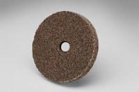 3M Scotch-Brite XL-UW Unitized Aluminum Oxide Medium Deburring Wheel - Very Coarse Grade - Arbor Attachment - 3 in Diameter - 3/8 in Center Hole - 1/2 in Thickness - 18560
