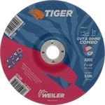 Weiler TIGER Standard (Type 27) Aluminum Oxide Cut & Grind Wheel - 30 Grit - 7 in Diameter - 7/8 in Center Hole - 1/8 in Thick - 57105