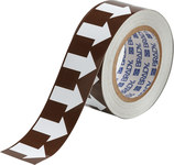 Brady B-946 White on Brown Directional Flow Arrow Tape - 2 in Width - 30 yd Length - 109929