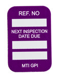 Brady Microtag Purple Vinyl Micro Tag Insert - 1 1/4 in Width - 1 7/8 in Height - Printed Text = NEXT INSPECTION DUE DATE - MIC-MTIGPI P