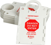 Brady Entrytag ENT-ETSH157 Red on White Rectangle Plastic Entry Tag Holder - 6 in Width - 11 1/4 in Height - 14265