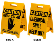 Brady B-836 Polypropylene Rectangle Yellow Floor Stand Sign - 12 in Width x 20 in Height - TEXT: CAUTION CHEMICAL SPILL KEEP OUT - 92284