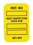 Brady Microtag Yellow Vinyl Micro Tag Insert - 1 1/4 in Width - 1 7/8 in Height - Printed Text = NEXT INSPECTION DUE DATE - MIC-MTIGPI Y