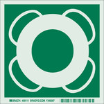 Brady Bradyglo B-347 Polyester / Polystyrene Square Green IMO Evacuation Sign - 6 in Width x 6 in Height - Glow in the Dark - 59111