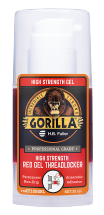 A close up photo of the GorillaPro AT105GEL high strength Threadlocker gel bottle sold by R.S. Hughes.