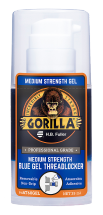 A close up photo of the GorillaPro AT60 medium strength Threadlocker gel bottle sold by R.S. Hughes.