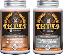 A product photo of the GorillaPro Anti-Seize Lubricants line showing the NSCU (copper-based) and NSNI (Nickel-based) variants.