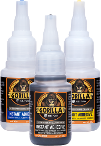 A product photo of the GorillaPro Instant Adhesives line showing the CA100 (plastic and rubber), CA30 (multi-purpose), and CA120SI (Fast setting) variants.