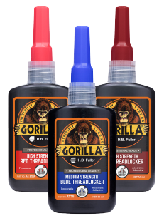 A product photo of the GorillaPro threadlockers showing the medium, high, and long thread threadlocker variants.