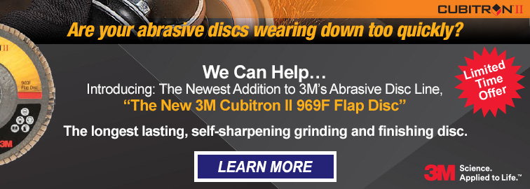 New 3M Cubitron II 969F Abrasive Flap Disc with Bonus Offer, Click for Details