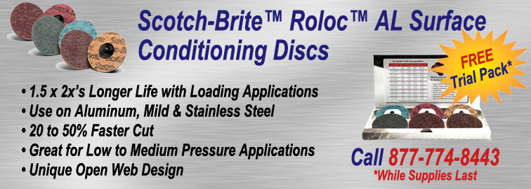SCOTCH-BRITE ROLOC AL SURFACE CONDITIONING SAMPLE PACKS & DISCS, Click for Details