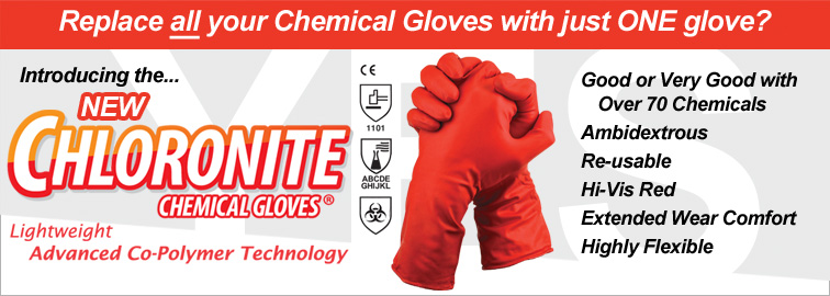 New Chloronite Chemical Gloves - One Chemical Glove To Replace Them All, Click for Details