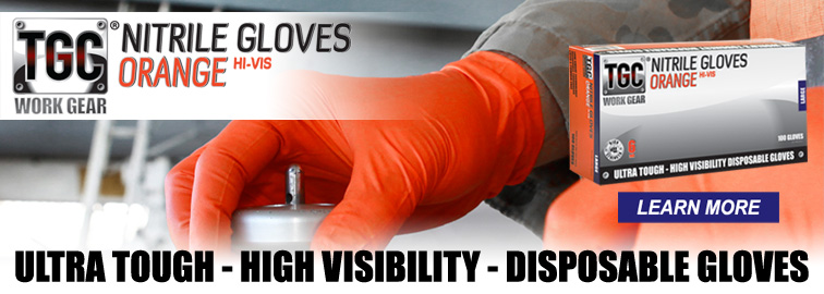 TGC Orange Nitrile Gloves - Ultra Tough - High Visibility - Disposable Gloves, Click for Details