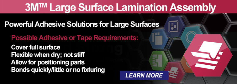 3M Assembly Solutions Large Surface Lamination - No Surface is Too Large for 3M Adhesives, Click for Details