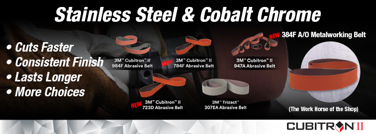 3M New Abrasive Belts For Stainless Steel and Cobalt Chrome, Click for Details