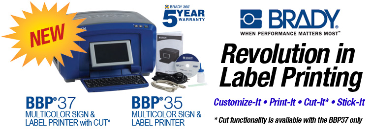 Brady BBP35 and BBP37 Printers, Click for Details