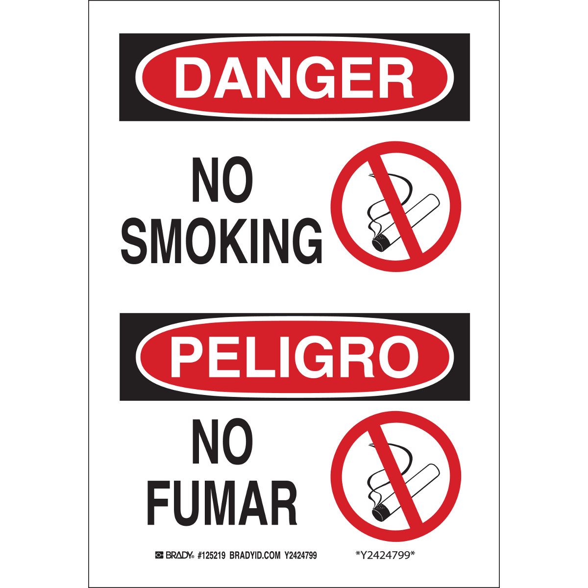 Brady 122508 No Smoking Sign, White, B-401, 10 in x 7 in
