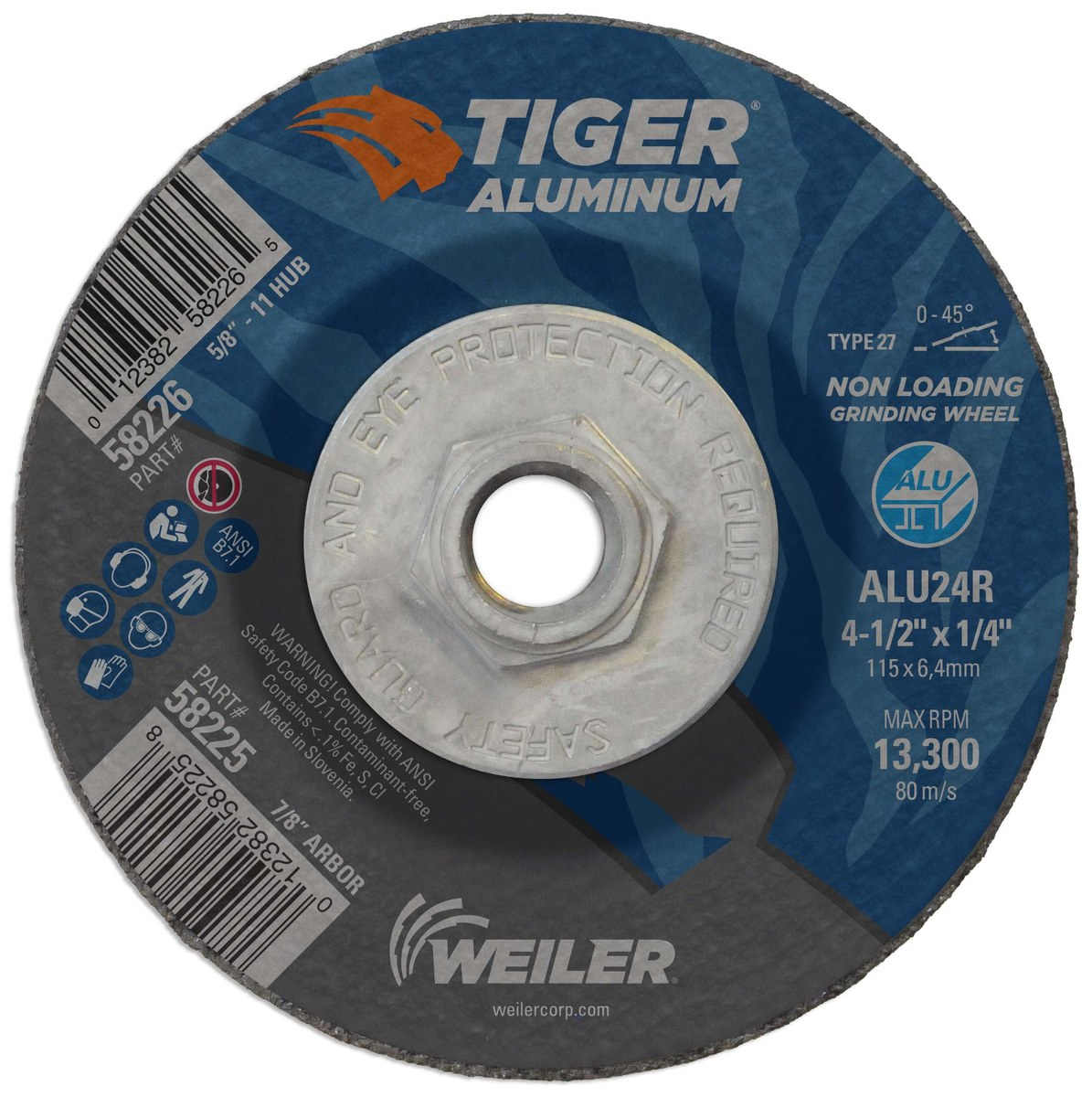 1//4 in Thick 7 in Dia Oxide 51 Pack 24 Grit Alum Depressed Center Wheel