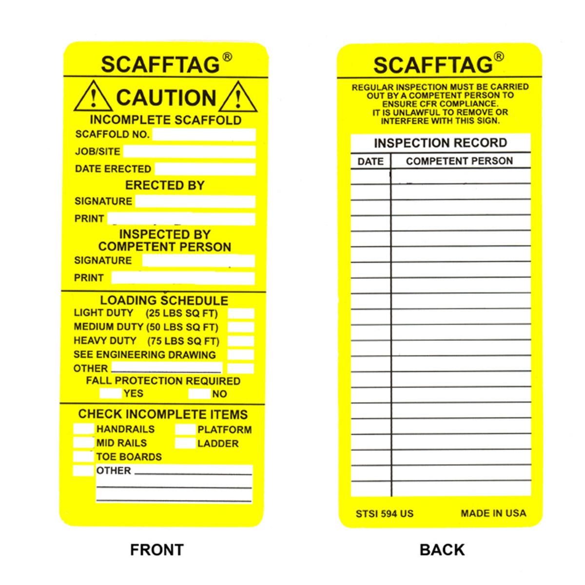 NEW Scafftag Scaffold Standard Inspection Insert tags x 3