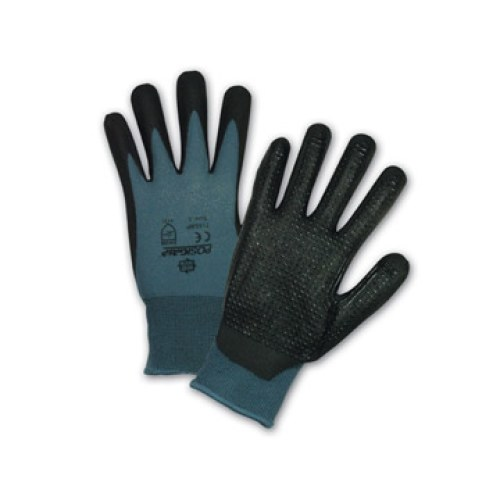 Large West Chester 715SBP L Black Bi-Polymer Palm Coated Dotted Gray Nylon Gloves 715SBP//L Pack of 12