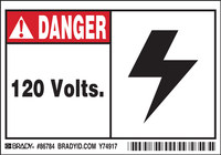 Brady 86784 Black / Red on White Rectangle Polyester High Voltage Warning Label - 5 in Width - 3 1/2 in Height - B-302