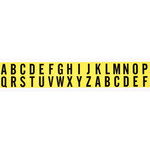 Brady 34 Series 34238 Black on Yellow Vinyl Cloth Letters Label Kit - Indoor - 9/16 in Width - 3/4 in Height - 5/8 in Character Height