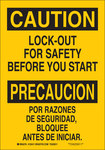 Brady B-555 Aluminum Rectangle Yellow Lockout Sign - 7 in Width x 10 in Height - Language English / Spanish - 125409