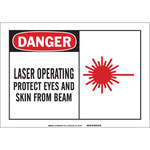 Brady B-120 Fiberglass Reinforced Polyester Rectangle White Laser Hazard Sign - 10 in Width x 7 in Height - 62530