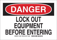 Brady B-555 Aluminum Rectangle White Lockout Sign - 10 in Width x 7 in Height - 123635
