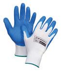 Honeywell Tuff-Coat 125 Blue/White Large Nylon General Purpose Gloves - Latex Palm & Fingers Coating - Rough Finish - 125-L
