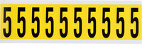Brady 34 Series 3440-5 Black on Yellow Vinyl Cloth Number Label - Indoor - 7/8 in Width - 2 1/4 in Height - 1 15/16 in Character Height - B-498