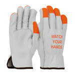 PIP 68-162HV Natural Large Grain Cowhide Leather Driver's Gloves - Keystone Thumb - 9.6 in Length - 68-162HV/L