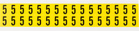 Brady 34 Series 3420-5 Black on Yellow Vinyl Cloth Number Label - Indoor - 9/16 in Width - 3/4 in Height - 5/8 in Character Height - B-498