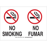 Brady B-555 Aluminum Rectangle White No Smoking Sign - 10 in Width x 7 in Height - Language English / Spanish - 122396