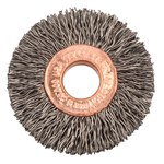 Weiler Steel Wheel Brush 0.014 in Bristle Diameter - Arbor Attachment - 1 1/2 in Outside Diameter - 3/8 in Center Hole Size - 15762