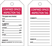 Brady 50275 Black / Red on White Polyester / Paper Inspection / Checklist Confined Space Tag - 3 in Width - 5 3/4 in Height - B-837