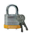 Brady Yellow Steel 5-pin Keyed & Safety Padlock 99512 - 1 9/16 in Width - 1 1/3 in Height - 17/64 in Shackle Diameter - 2 Key(s) Included - 754476-99512