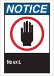 Brady B-401 High Impact Polystyrene Rectangle White No Exit Sign - 10 in Width x 14 in Height - 45074