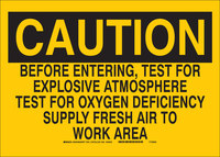 Brady B-555 Aluminum Rectangle Yellow Environment Air Testing Sign - 10 in Width x 7 in Height - 40617