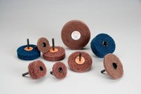 Standard Abrasives Buff and Blend 880216 GP A/O Aluminum Oxide AO Buffing Wheel - Medium Grade - 2 in Diameter - 1/4 in Center Hole - Shaft Attachment - 33290