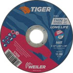 Weiler TIGER Aluminum Oxide Cutting Wheel - Type 1 - Straight Wheel - 60 Grit - 4 1/2 in Diameter - 7/8 in Center Hole -.045 in Thick - 57020