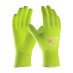PIP MaxiFlex Ultimate 34-874 High-Visibility Yellow Large Nylon Work Gloves - EN 388 1 Cut Resistance - Nitrile/Nitrile Foam Palm & Fingers Coating - 8.7 in Length - 34-874FY/L