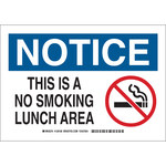 Brady B-555 Aluminum Rectangle White No Smoking Sign - 10 in Width x 7 in Height - 128166