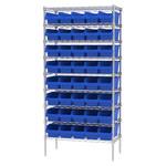 Akro-Mils Shelfmax 2000 lb Adjustable Blue Chrome Steel Open Adjustable Fixed Shelving System - 40 Bins - 2000 lb Total Capacity - AWS183630098 BLUE