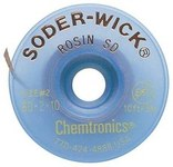 Chemtronics Soder-Wick #2 Yellow Rosin Flux Coating Desoldering Braid - 10 ft Length - 0.06 in Diameter - Rosin Flux Core - 80-2-10