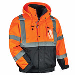 Ergodyne GloWear 8381 Orange Large Polyester (Shell)/Polyurethane (Coating) Work Jacket - Detachable Hood - 720476-25584