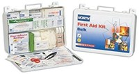 North First Aid Kit - Bulk - 9.5 in Width - 14 in Length - 2.3 in Height - Metal Case Construction - 019707-0004L